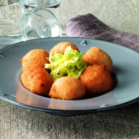 Shallot Zeppole with Cabbage Salad