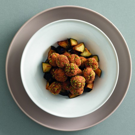 Pistachio-Chicken Meatballs with Fried Eggplant