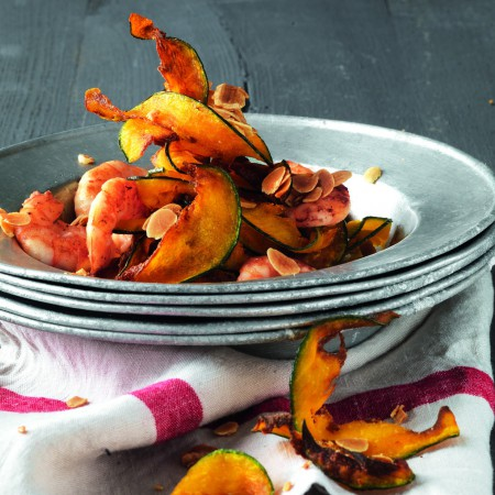 Shrimp with Squash Chips and Almonds