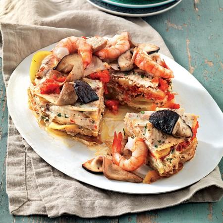 "Swordfish, Potato, and Bell Pepper ""Pie"""