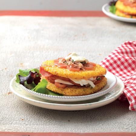 Crispy Rice Cakes with Tuna, Mozzarella and Tomato