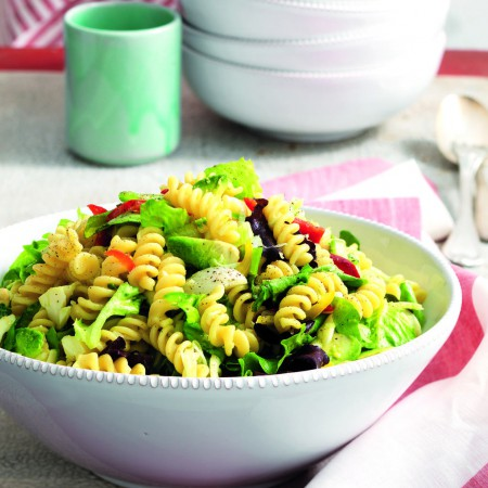 Pasta Salad with Fusilli, Scamorza Cheese, Avocado and Spring Onions