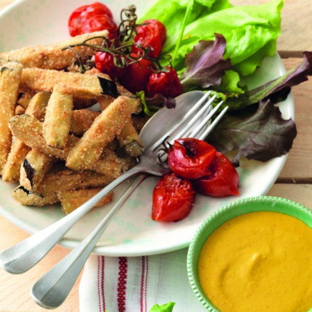 Breaded Eggplant Sticks with Spiced Sauce