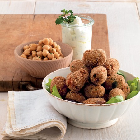 Chickpea and Beef Croquettes with Herb Yogurt