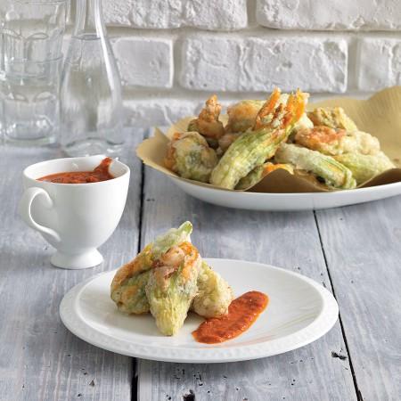 Sardine-Stuffed Zucchini Flowers with Sun-Dried Tomato Sauce