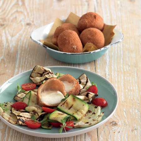 Fried Mozzarella Bites with Grilled Vegetables