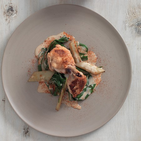 Chicken Wings with Anchovy Sauce and Chard