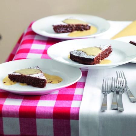 Chocolate Cake with Crème Anglaise