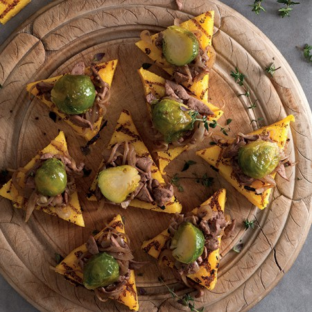 Chicken Liver and Glazed Brussels Sprout Crostini