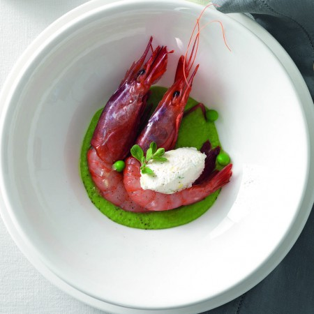 Raw Shrimp and Ricotta Quenelles on Pea Cream