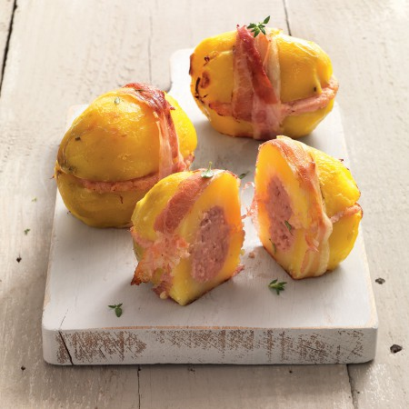 Mortadella-Stuffed Baked Potatoes