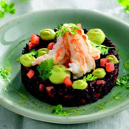 Black Rice and Shrimp with Avocado