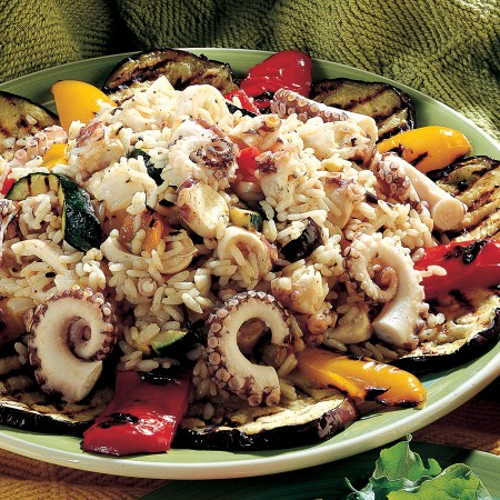 Rice Salad with Octopus and Summer Vegetables