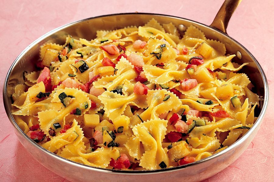 Farfalle With Pancetta and Vegetables