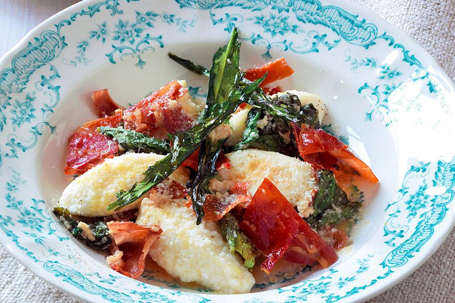Ricotta Gnocchi With Vegetables and Prosciutto