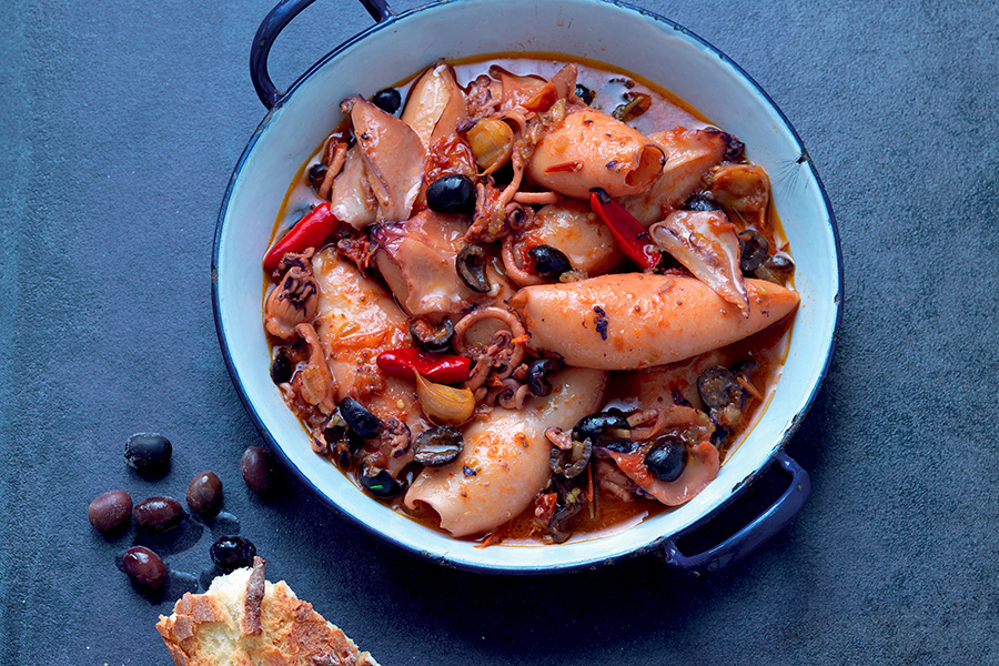Squid Stew with Black Olives