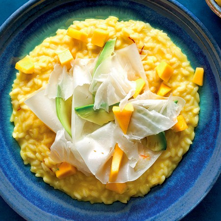 Yellow Mango Rice with Raspadura Cheese