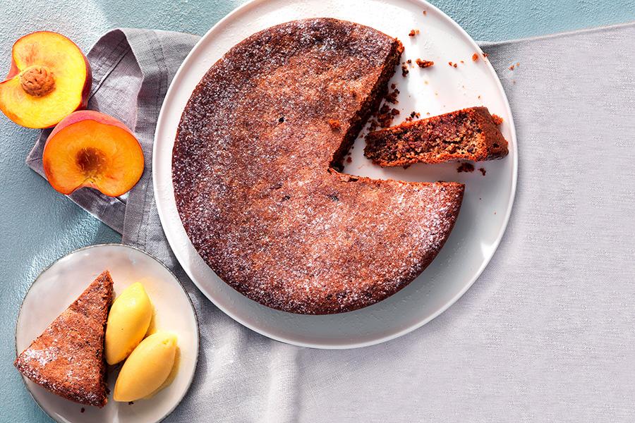 Torta Caprese and Peach Sorbet
