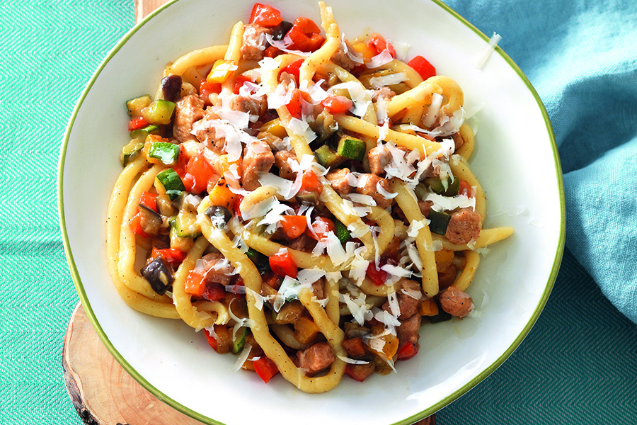 Pici Pasta and White Ragù With Vegetables