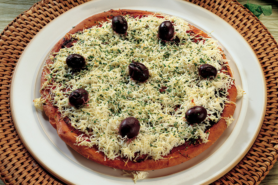 Pizza With Chickpea Flour and Olives