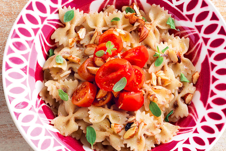 Farfalle With Almonds and Olive Tapenade