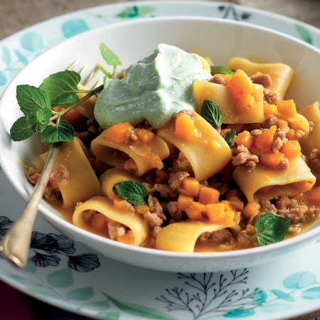 Pasta with Pumpkin, Sausage and Lettuce Cream