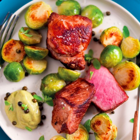 Cubed Pork Neck and Cumin Brussels Sprouts