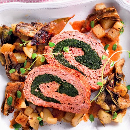 Stuffed Meatloaf with Potatoes and Artichokes