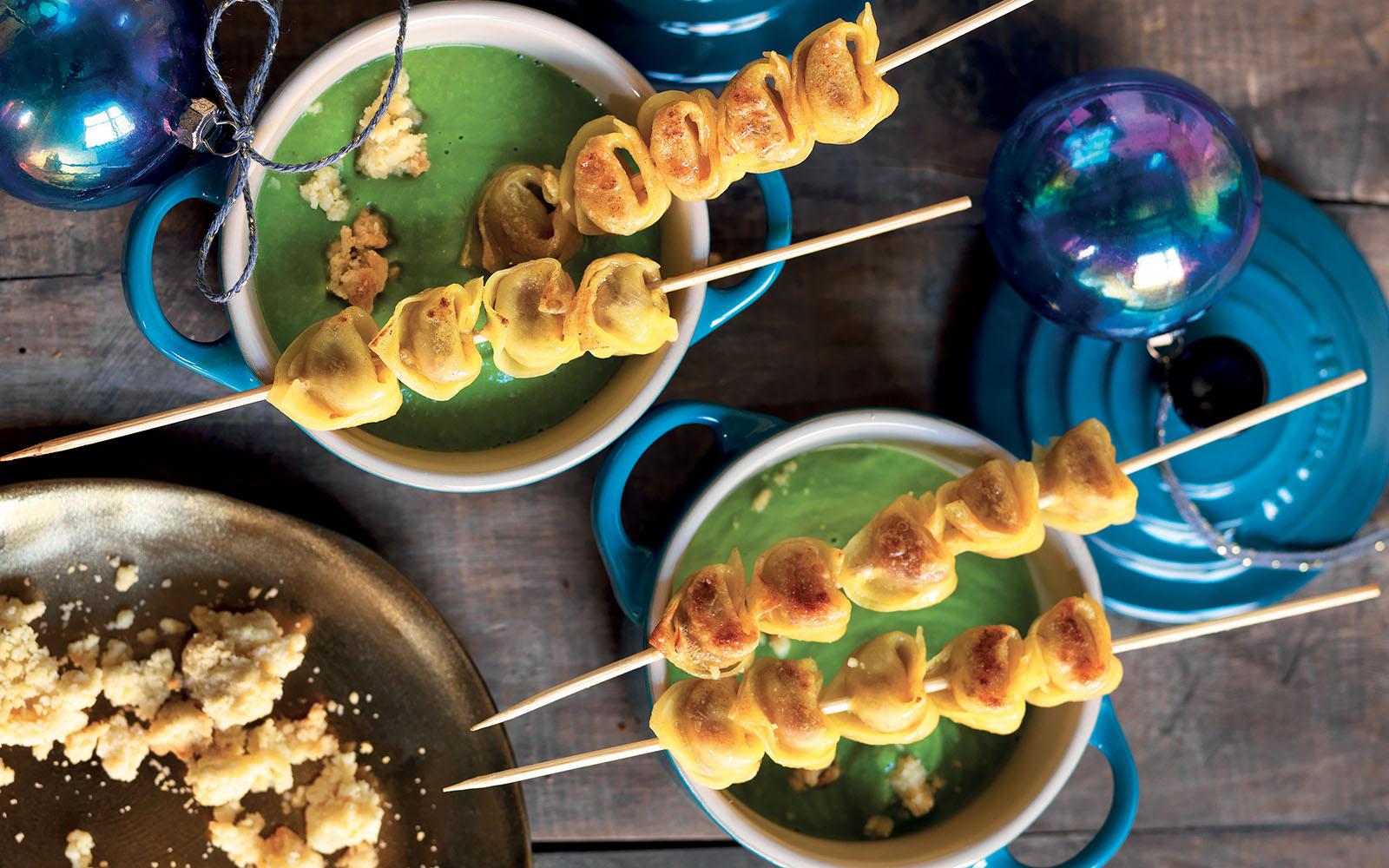 Tortellini Skewers With Pea Sauce