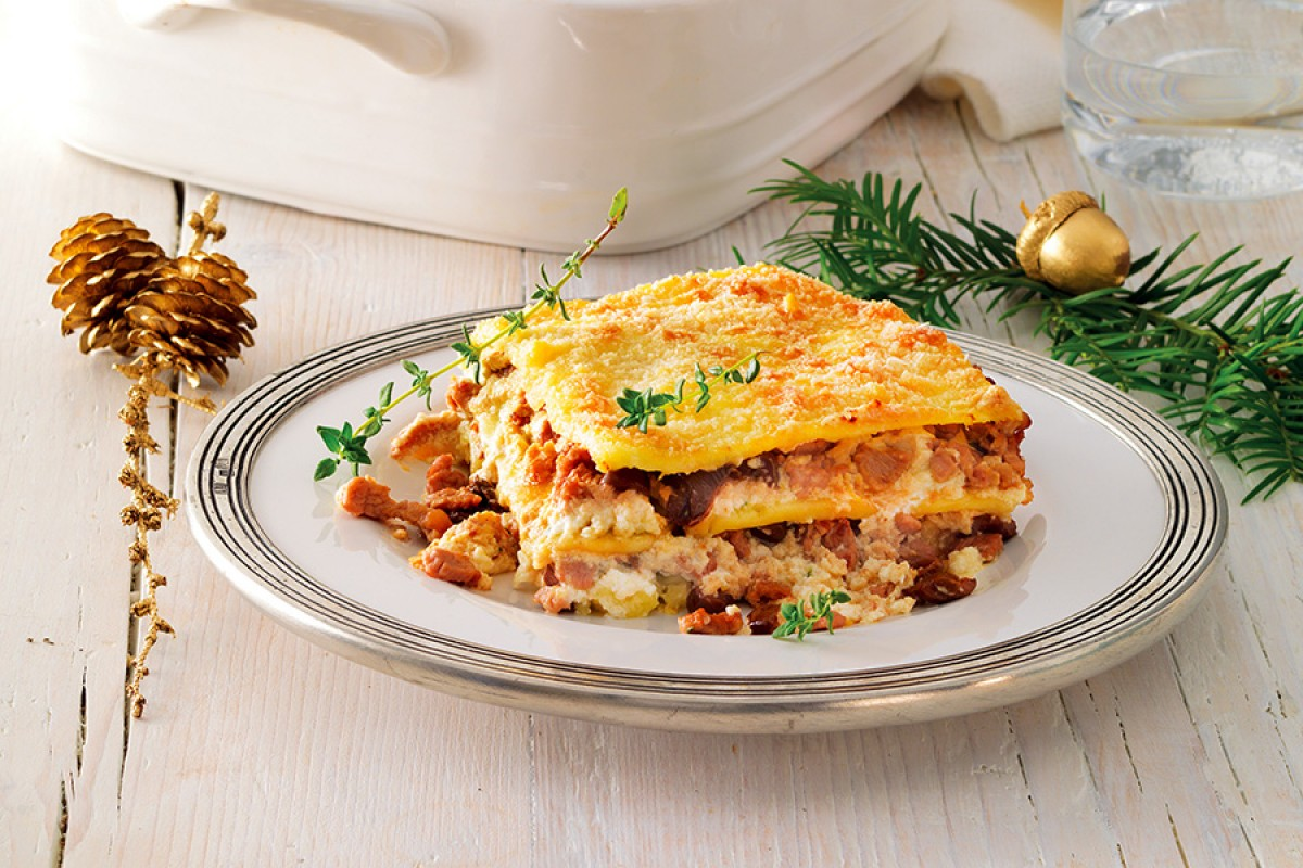 Potato, Veal Sauce and Thyme-Scented Ricotta Lasagna