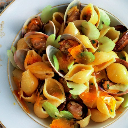 Pasta with Celery, Mullet Roe and Clams