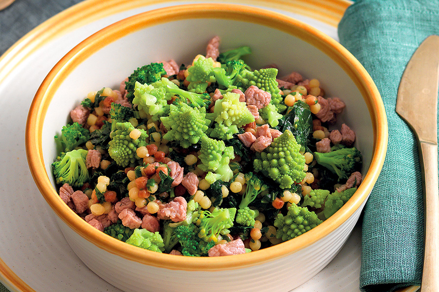 Fregola Risotto With Veal and Green Vegetables