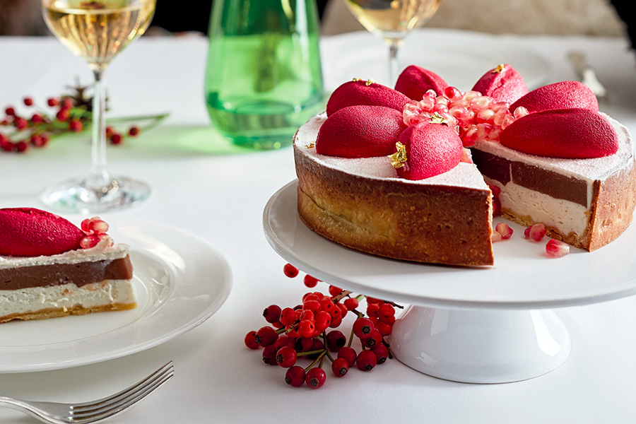 Chestnut and Ricotta Cheesecake With Pomegranate