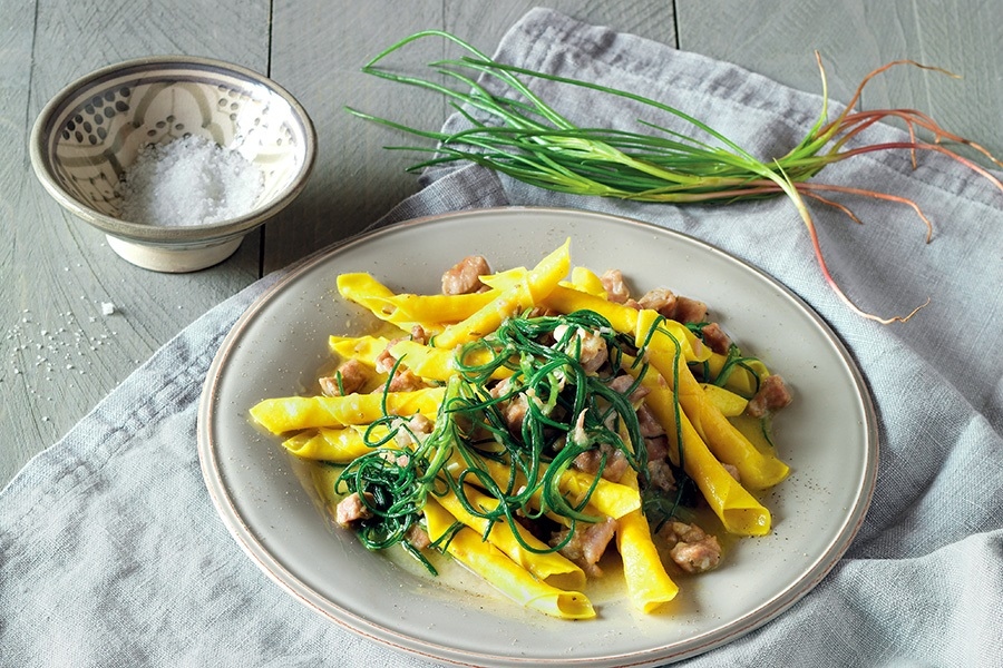 Garganelli with agretti, ginger and lamb ragout