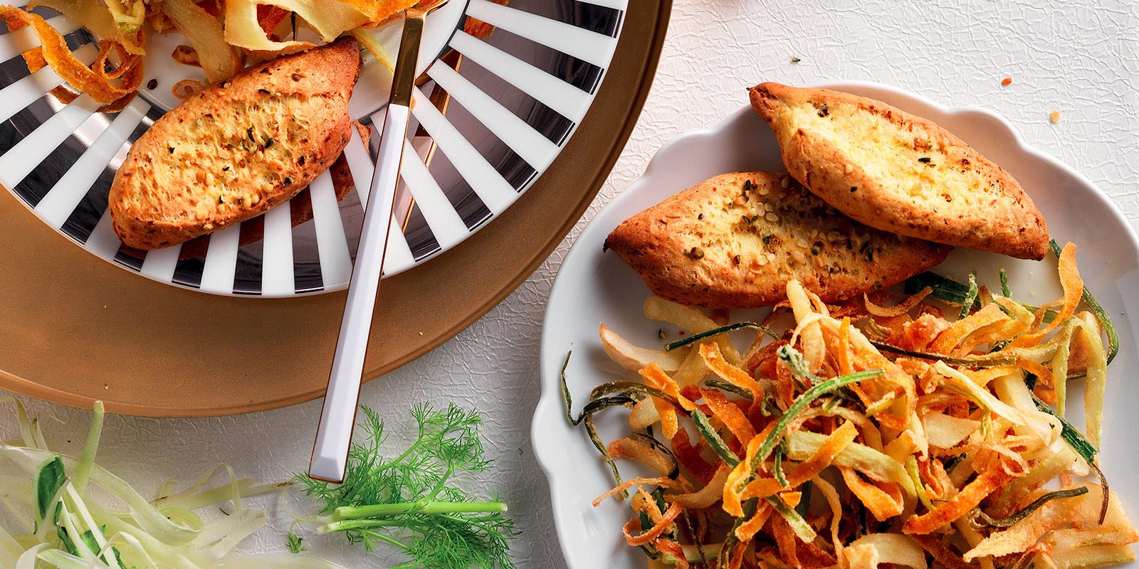 Fried Peels and Baked Bread With Vegetable Scraps